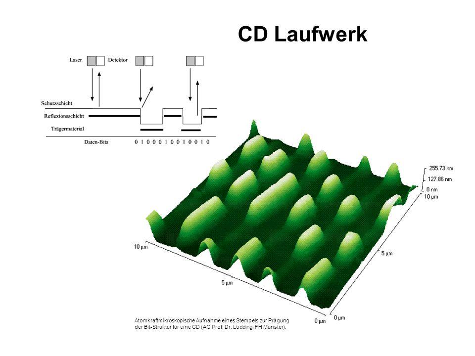 CD Laufwerk Atomkraftmikroskopische Aufnahme eines Stempels zur Prägung der Bit-Struktur für eine CD (AG Prof.