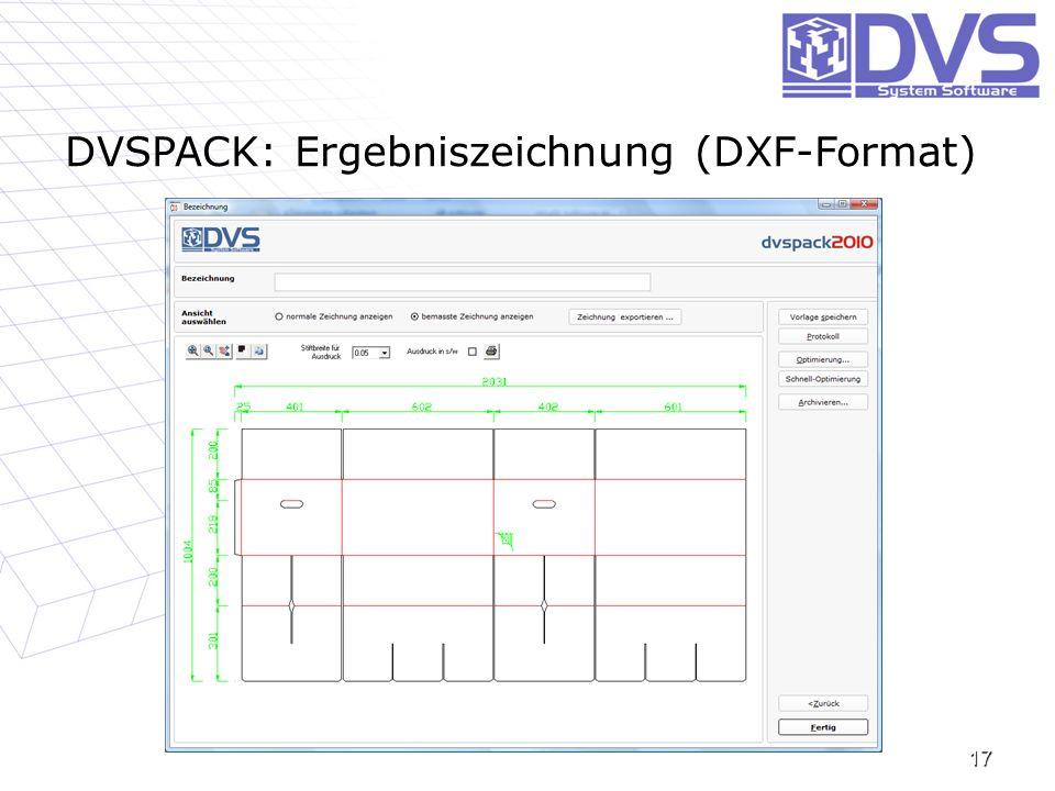 DVSPACK: Ergebniszeichnung (DXF-Format)