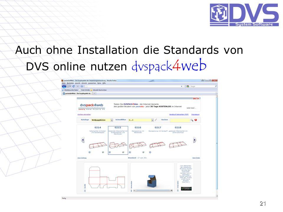 Auch ohne Installation die Standards von DVS online nutzen dvspack4web