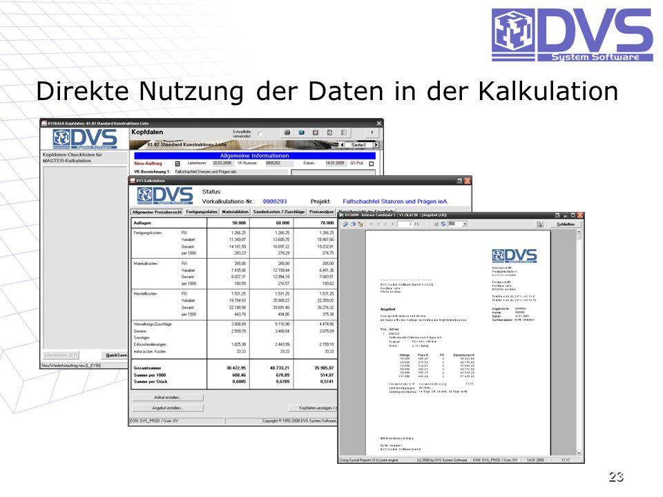 Direkte Nutzung der Daten in der Kalkulation