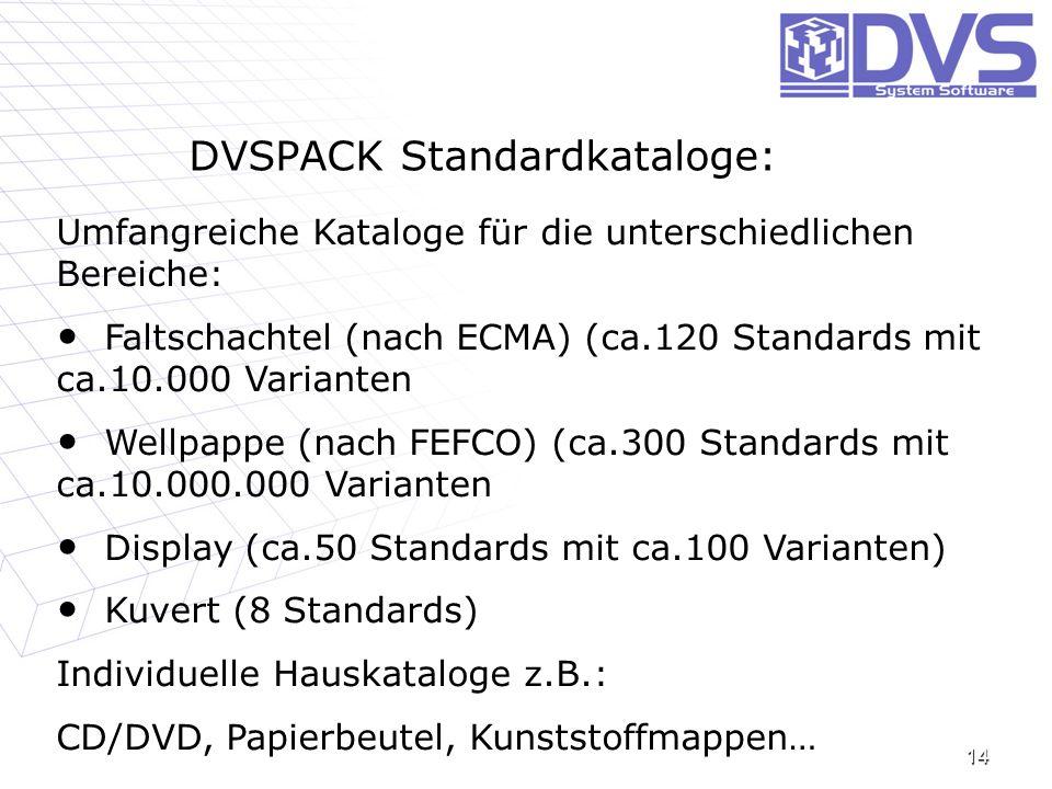 DVSPACK Standardkataloge: