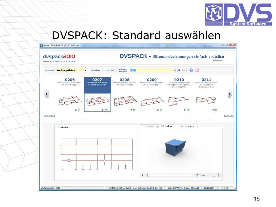 DVSPACK: Standard auswählen