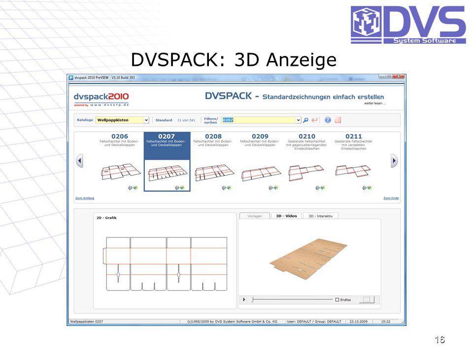 DVSPACK: 3D Anzeige