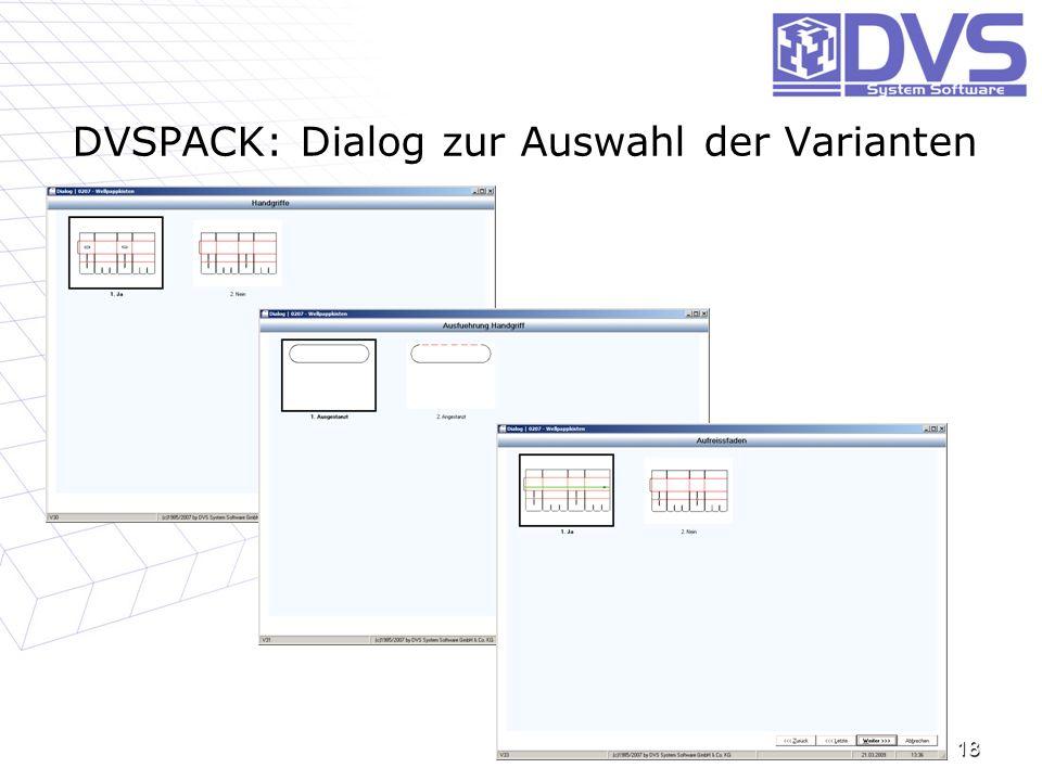 DVSPACK: Dialog zur Auswahl der Varianten