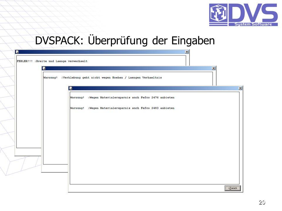 DVSPACK: Überprüfung der Eingaben