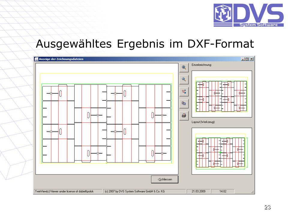 Ausgewähltes Ergebnis im DXF-Format