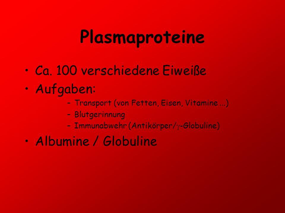 Plasmaproteine Ca. 100 verschiedene Eiweiße Aufgaben: