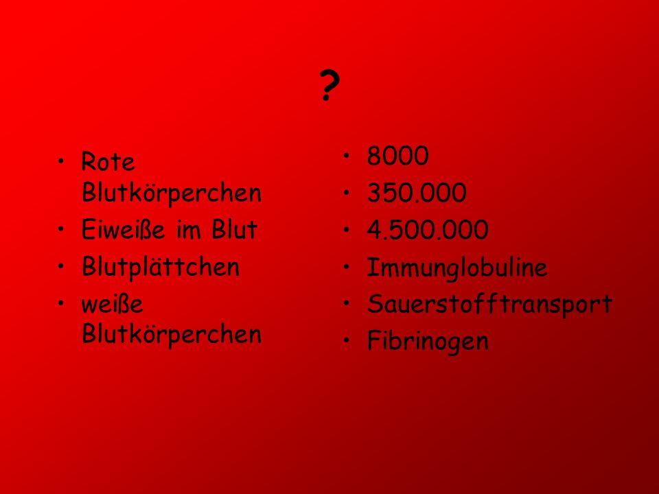 8000 Rote Blutkörperchen 350.000 4.500.000 Eiweiße im Blut