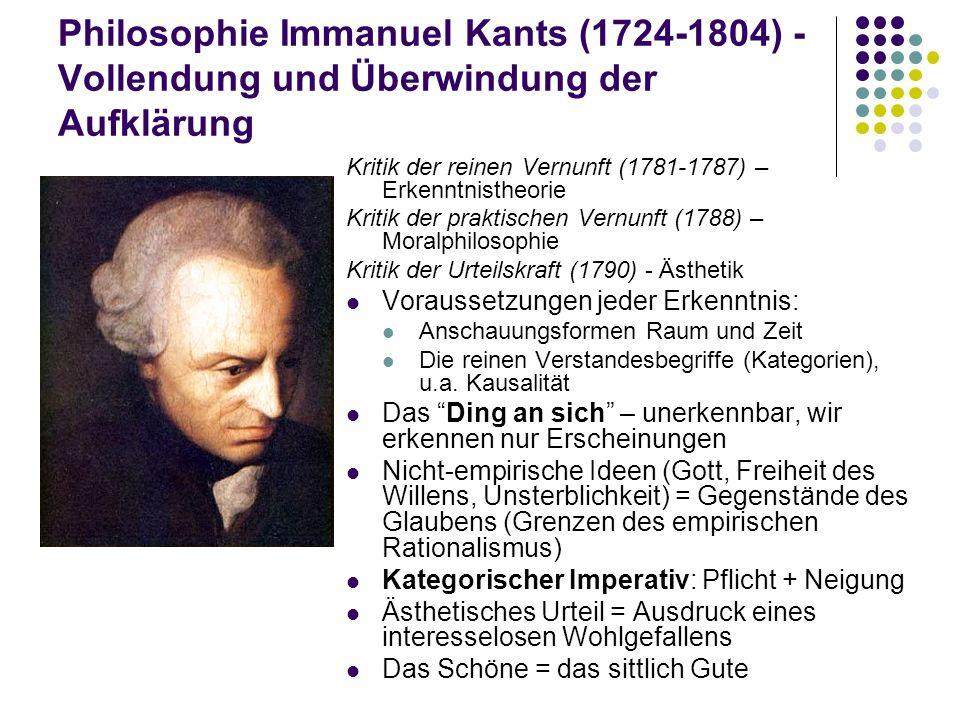 Philosophie Immanuel Kants (1724-1804) - Vollendung und Überwindung der Aufklärung