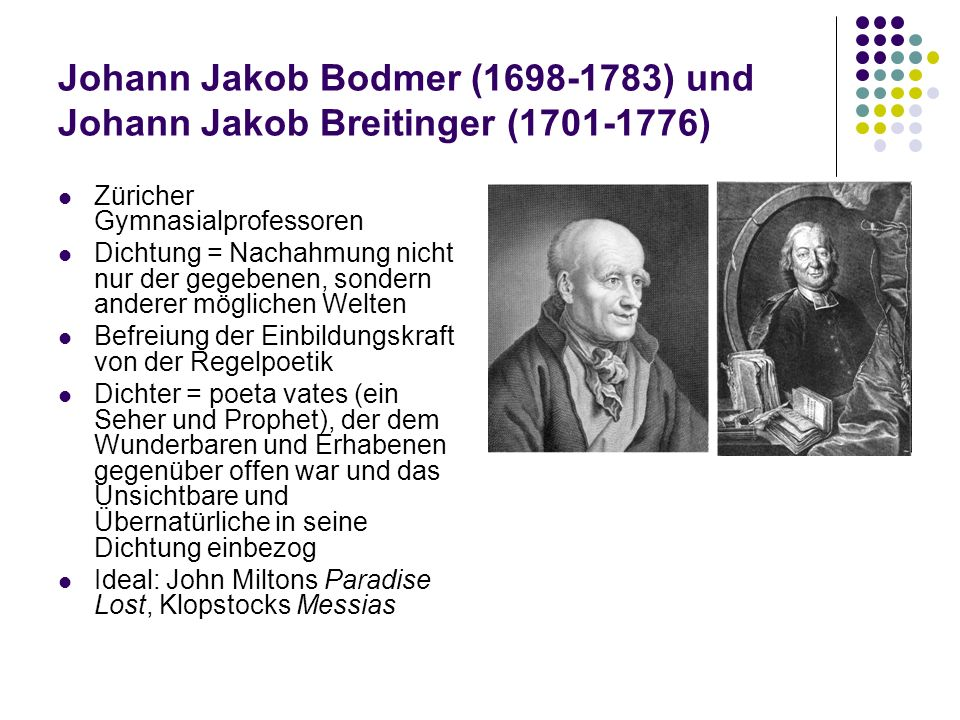 Johann Jakob Bodmer (1698-1783) und Johann Jakob Breitinger (1701-1776)