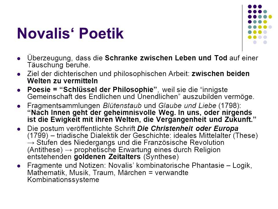 Novalis' Poetik Überzeugung, dass die Schranke zwischen Leben und Tod auf einer Täuschung beruhe.