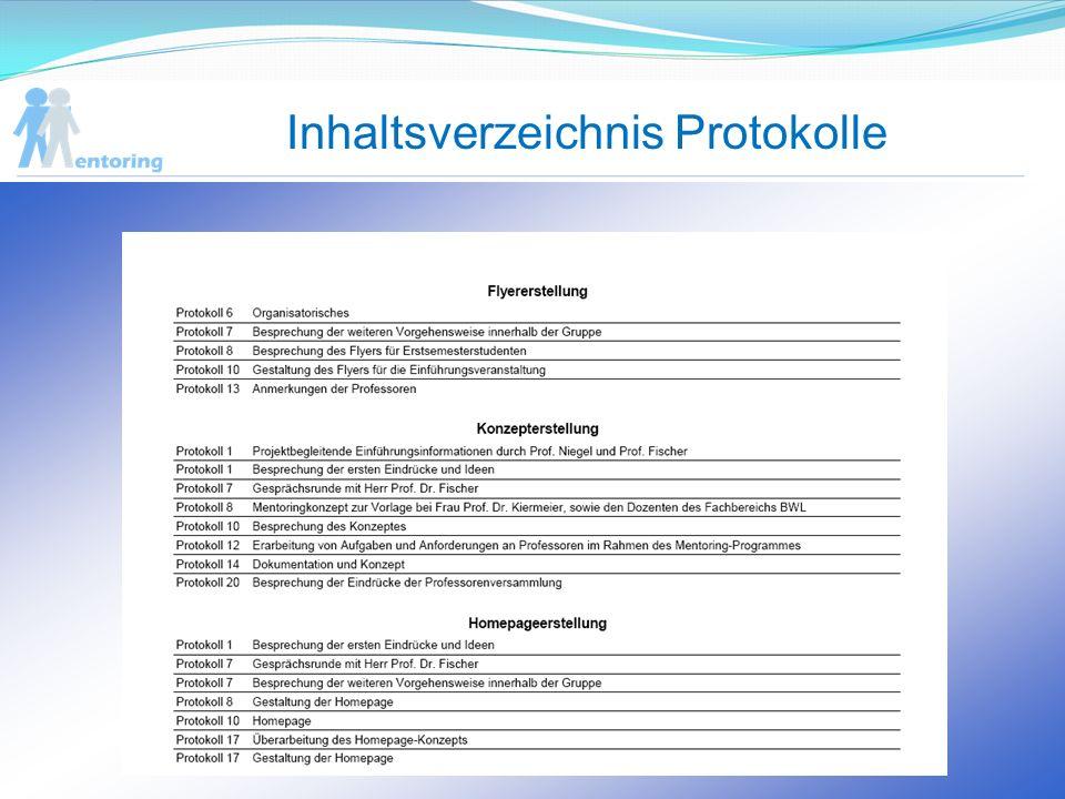 Inhaltsverzeichnis Protokolle