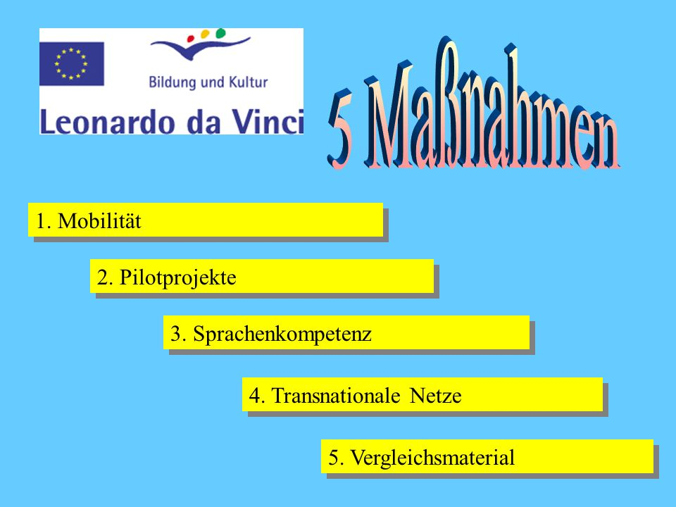 5 Maßnahmen 1. Mobilität 2. Pilotprojekte 3. Sprachenkompetenz