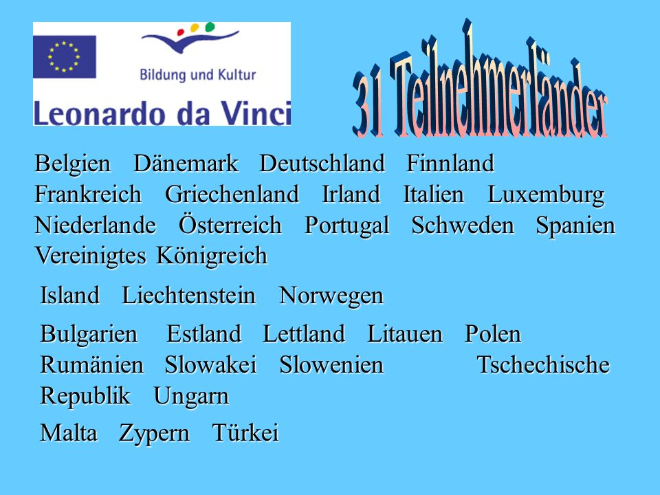 31 Teilnehmerländer