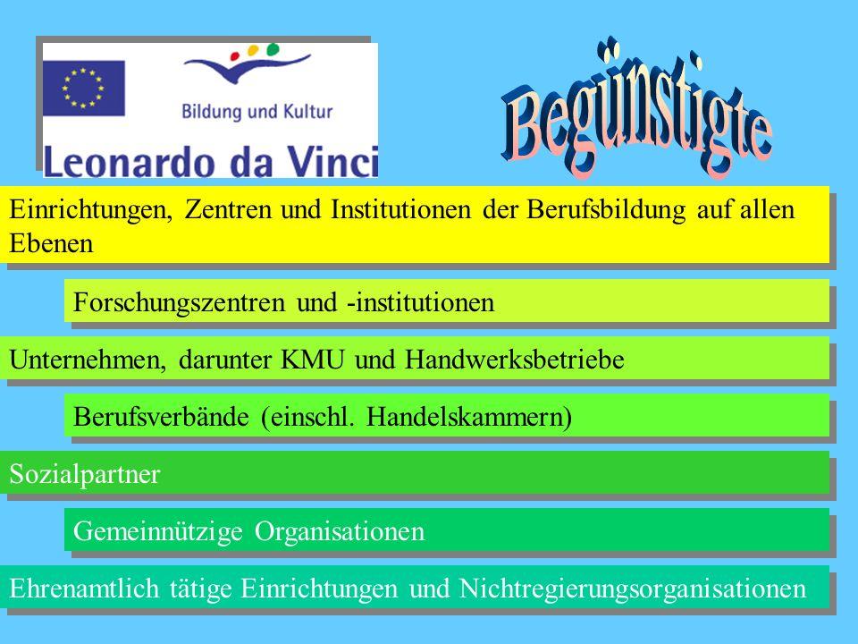 Begünstigte Einrichtungen, Zentren und Institutionen der Berufsbildung auf allen Ebenen. Forschungszentren und -institutionen.