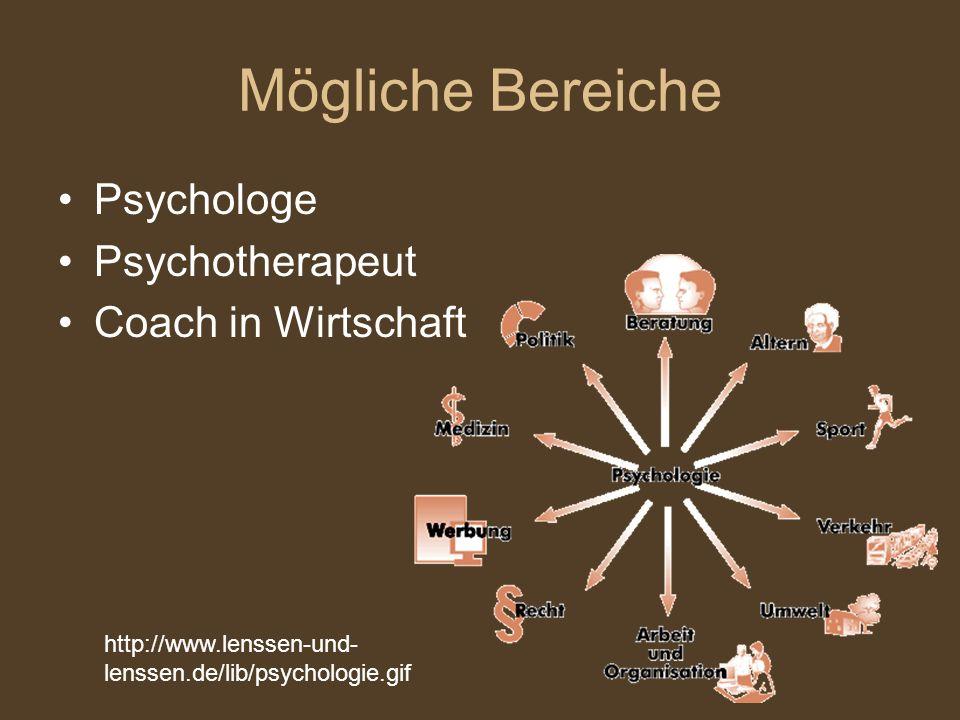 Mögliche Bereiche Psychologe Psychotherapeut Coach in Wirtschaft