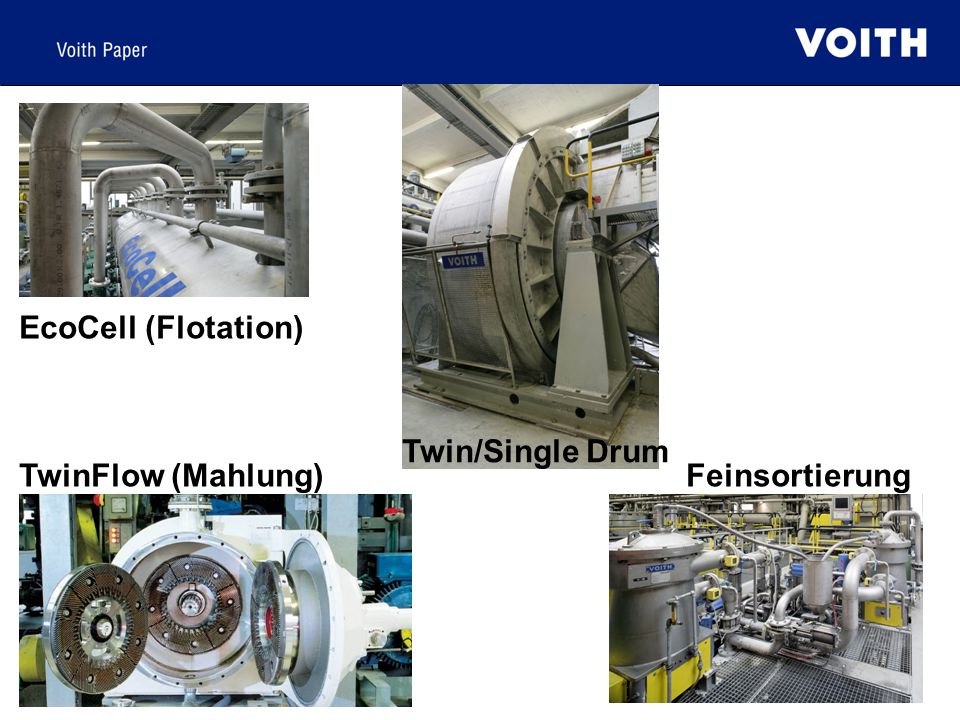 EcoCell (Flotation) Twin/Single Drum TwinFlow (Mahlung) Feinsortierung