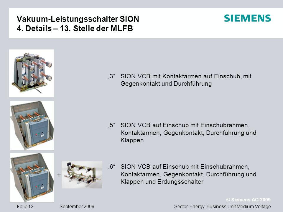 Vakuum-Leistungsschalter SION 4. Details – 13. Stelle der MLFB