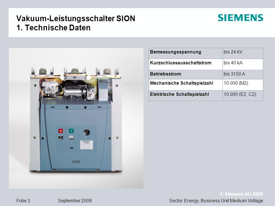 Vakuum-Leistungsschalter SION 1. Technische Daten