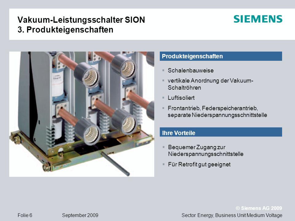 Vakuum-Leistungsschalter SION 3. Produkteigenschaften