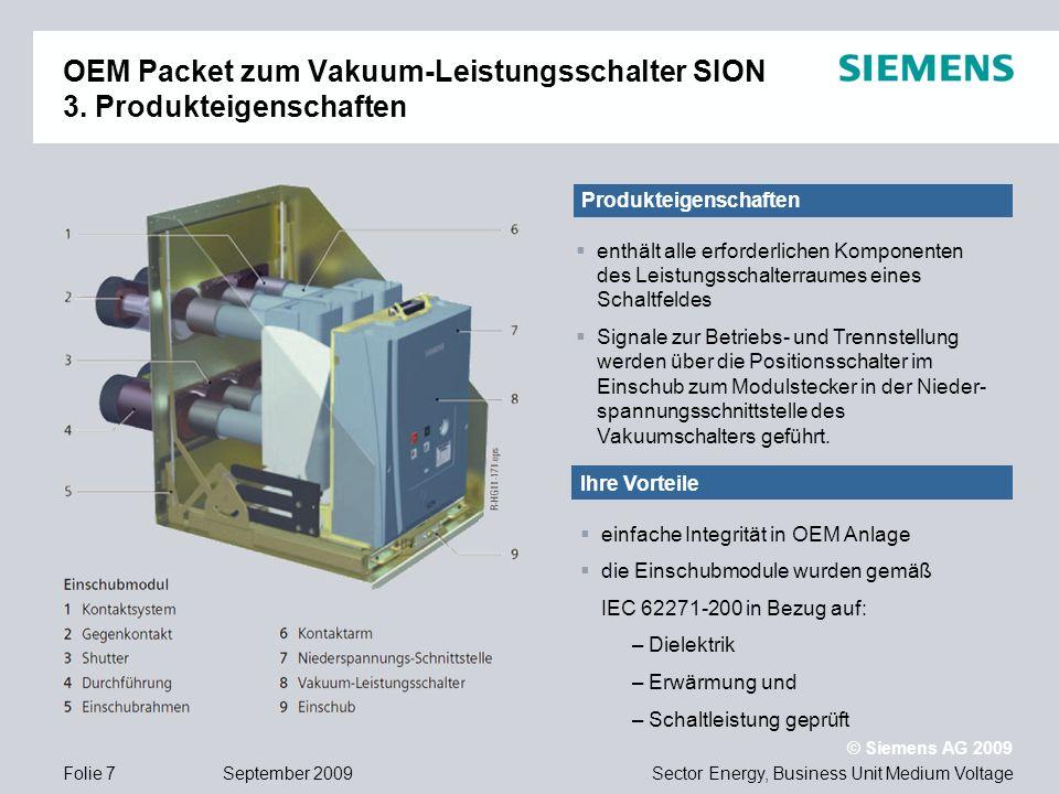 OEM Packet zum Vakuum-Leistungsschalter SION 3. Produkteigenschaften