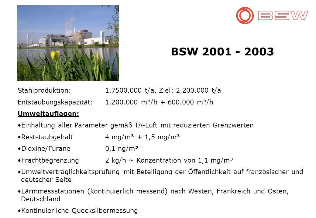 BSW 2001 - 2003 Stahlproduktion: 1.7500.000 t/a, Ziel: 2.200.000 t/a