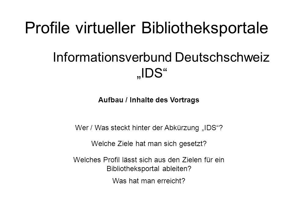 Profile virtueller Bibliotheksportale