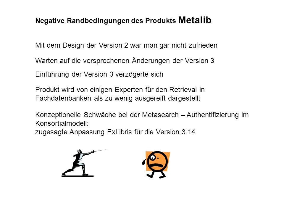 Negative Randbedingungen des Produkts Metalib