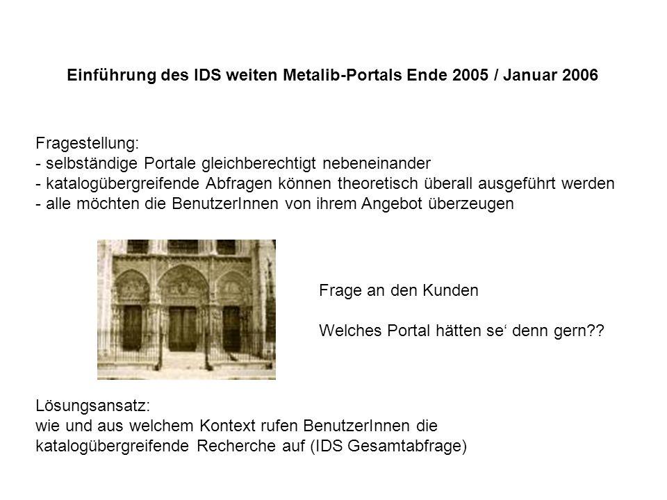 Einführung des IDS weiten Metalib-Portals Ende 2005 / Januar 2006