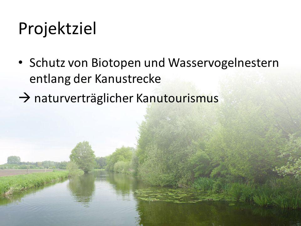 Projektziel Schutz von Biotopen und Wasservogelnestern entlang der Kanustrecke.