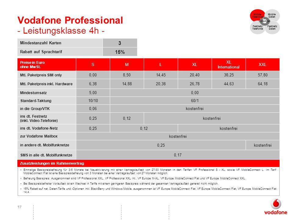 Vodafone Professional - Leistungsklasse 4h -