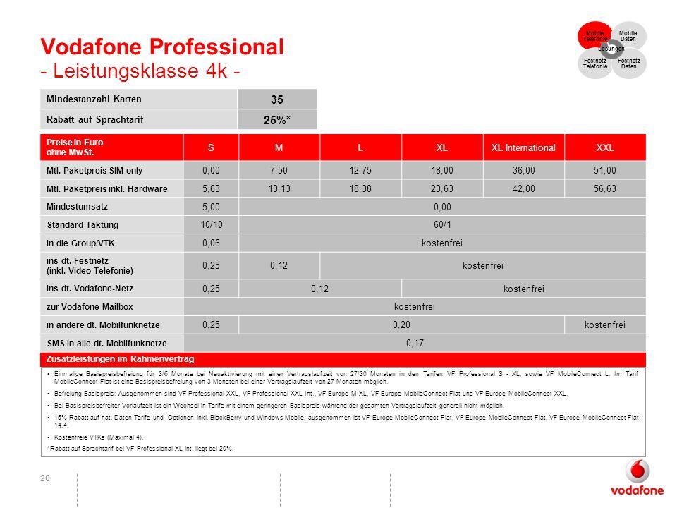 Vodafone Professional - Leistungsklasse 4k -