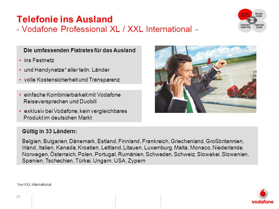 Telefonie ins Ausland - Vodafone Professional XL / XXL International -