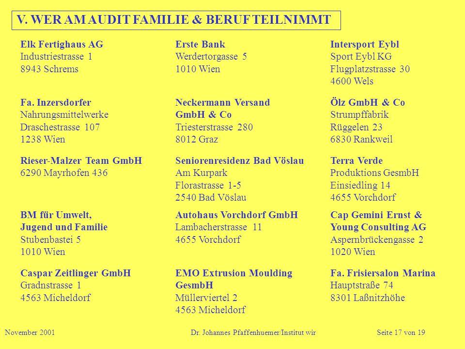 V. WER AM AUDIT FAMILIE & BERUF TEILNIMMT