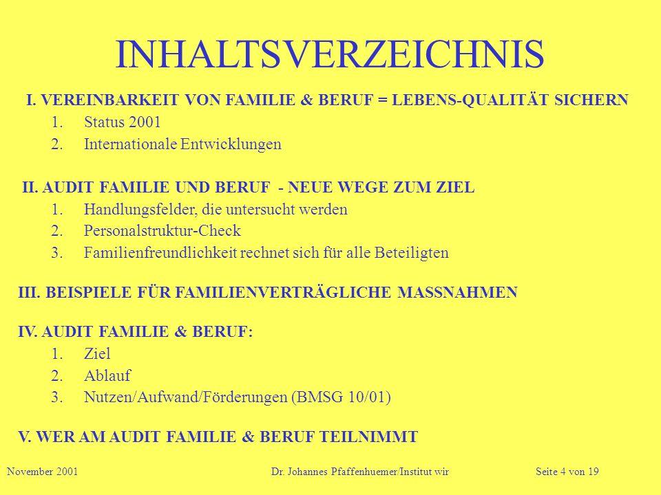 INHALTSVERZEICHNIS I. VEREINBARKEIT VON FAMILIE & BERUF = LEBENS-QUALITÄT SICHERN. Status 2001. Internationale Entwicklungen.