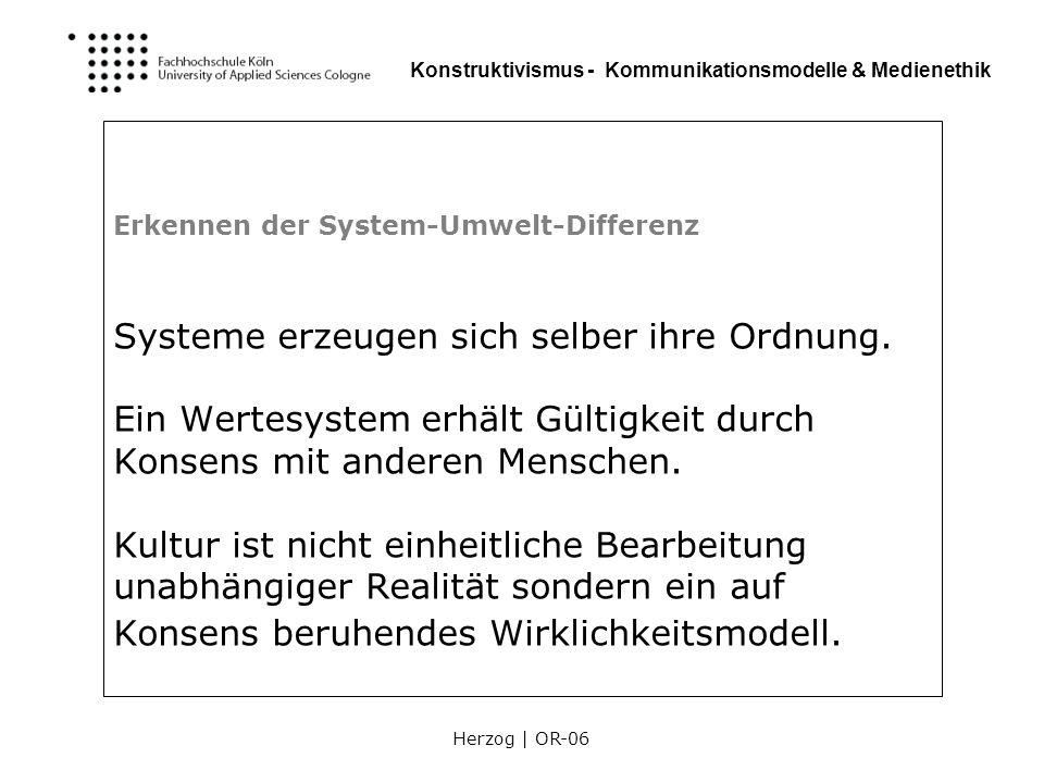 Erkennen der System-Umwelt-Differenz Systeme erzeugen sich selber ihre Ordnung.
