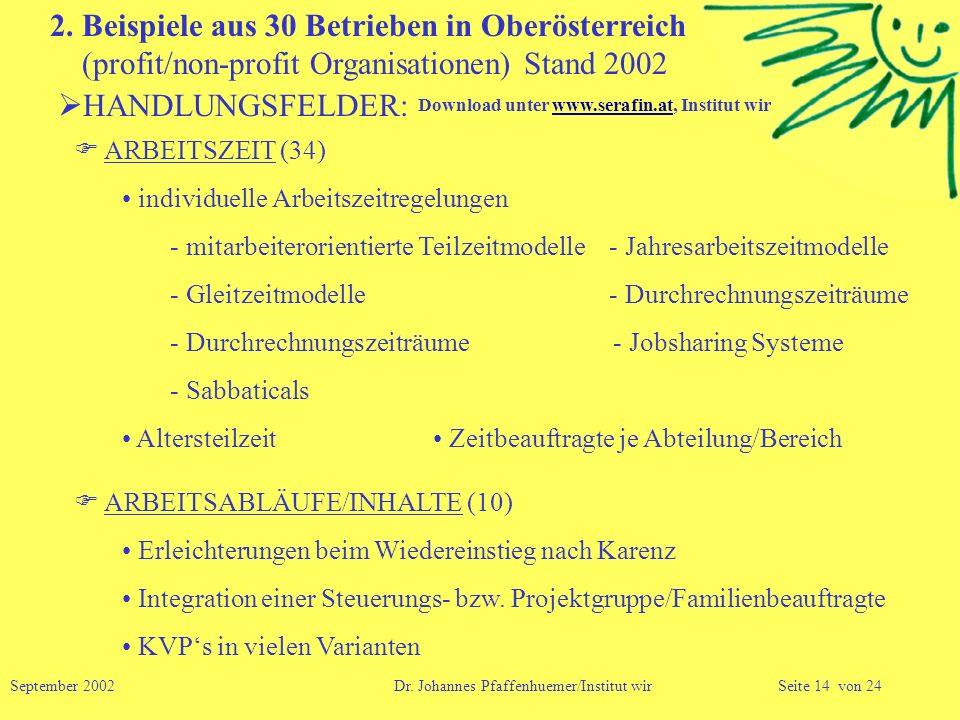 2. Beispiele aus 30 Betrieben in Oberösterreich (profit/non-profit Organisationen) Stand 2002