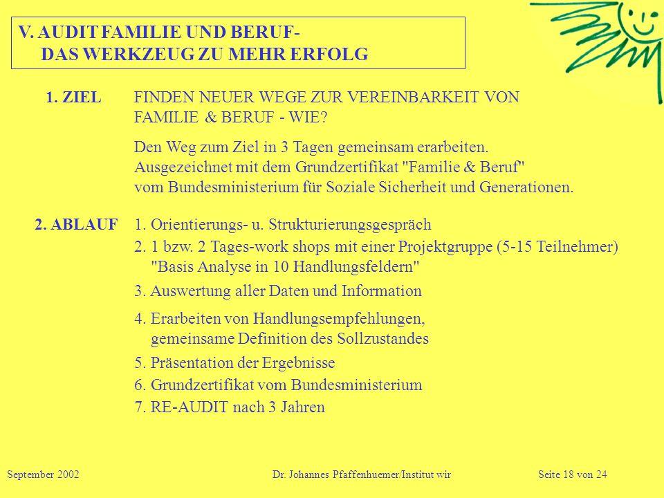 V. AUDIT FAMILIE UND BERUF- DAS WERKZEUG ZU MEHR ERFOLG