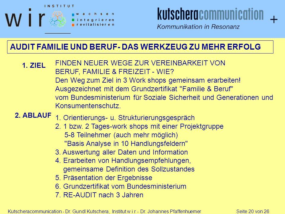 AUDIT FAMILIE UND BERUF- DAS WERKZEUG ZU MEHR ERFOLG
