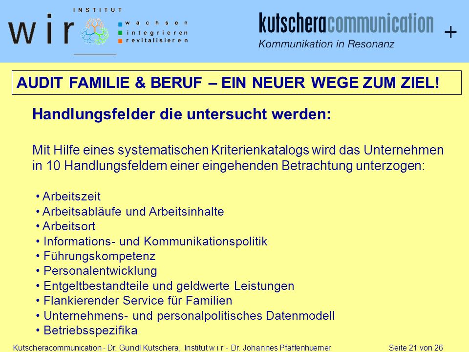 AUDIT FAMILIE & BERUF – EIN NEUER WEGE ZUM ZIEL!