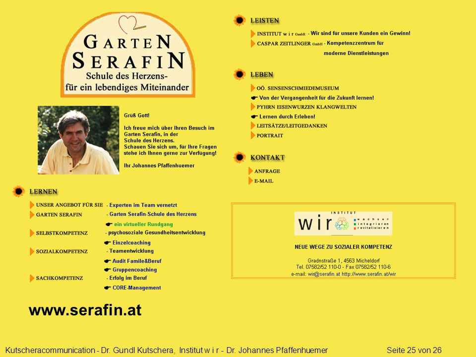 www.serafin.at Kutscheracommunication - Dr. Gundl Kutschera, Institut w i r - Dr.