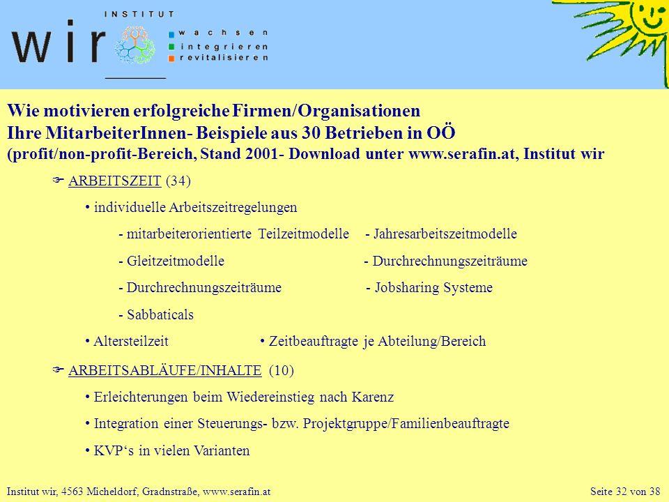Wie motivieren erfolgreiche Firmen/Organisationen Ihre MitarbeiterInnen- Beispiele aus 30 Betrieben in OÖ (profit/non-profit-Bereich, Stand 2001- Download unter www.serafin.at, Institut wir