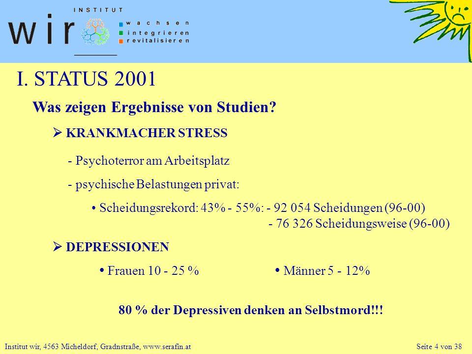 I. STATUS 2001 Was zeigen Ergebnisse von Studien  KRANKMACHER STRESS
