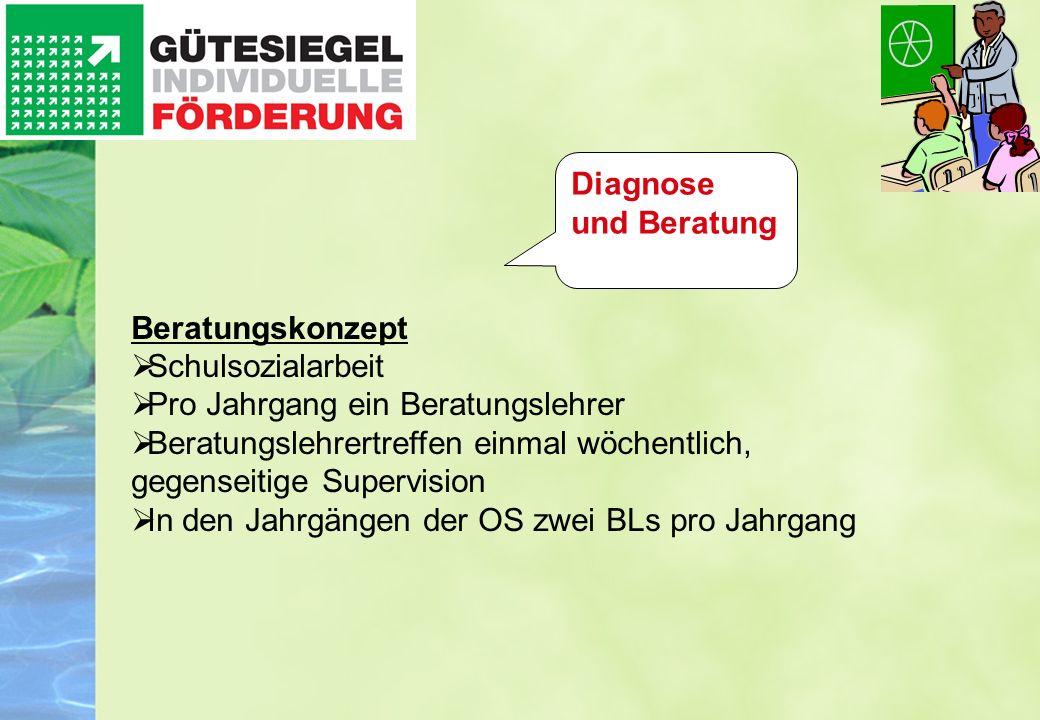 Diagnose und Beratung Beratungskonzept. Schulsozialarbeit. Pro Jahrgang ein Beratungslehrer.