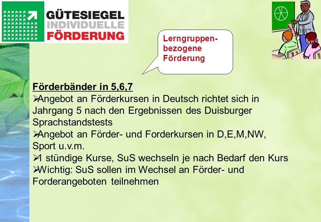 Angebot an Förder- und Forderkursen in D,E,M,NW, Sport u.v.m.