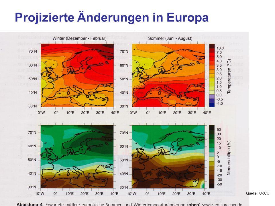 Projizierte Änderungen in Europa