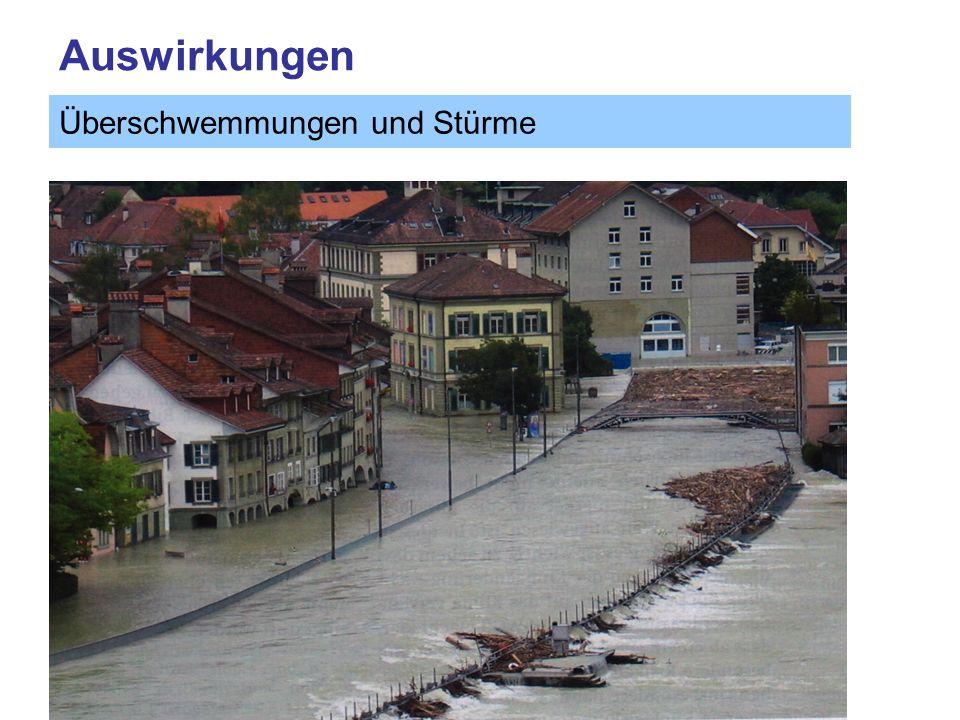 Auswirkungen Überschwemmungen und Stürme Quelle: OcCC