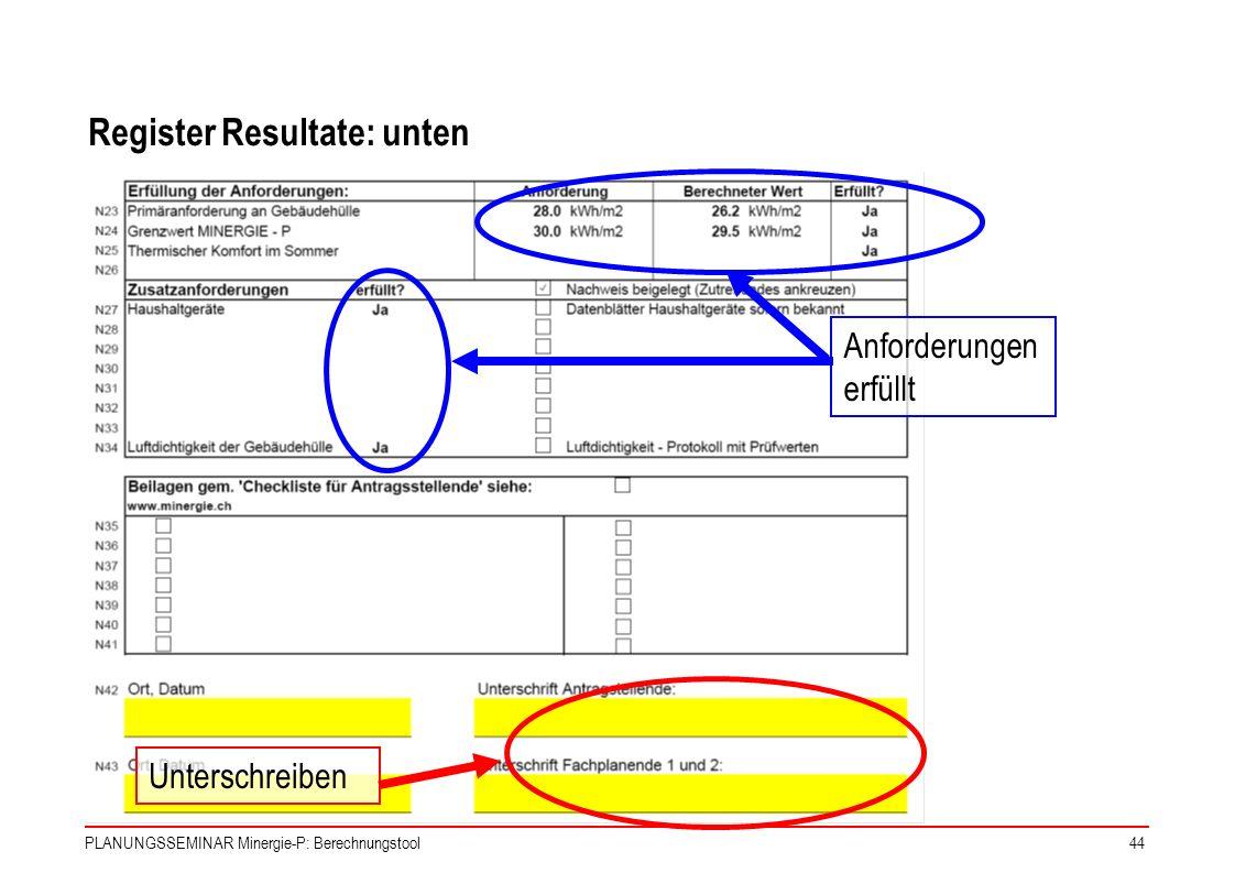 Register Resultate: unten