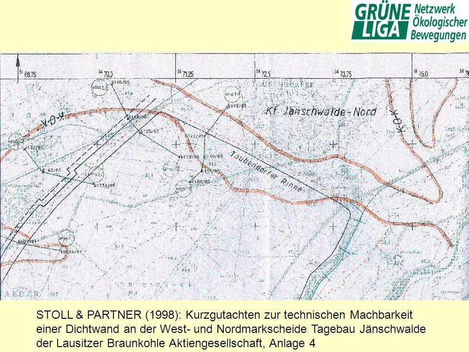 STOLL & PARTNER (1998): Kurzgutachten zur technischen Machbarkeit einer Dichtwand an der West- und Nordmarkscheide Tagebau Jänschwalde der Lausitzer Braunkohle Aktiengesellschaft, Anlage 4