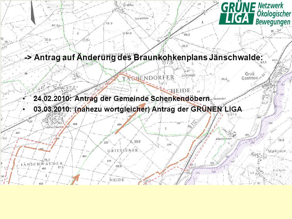 -> Antrag auf Änderung des Braunkohkenplans Jänschwalde: